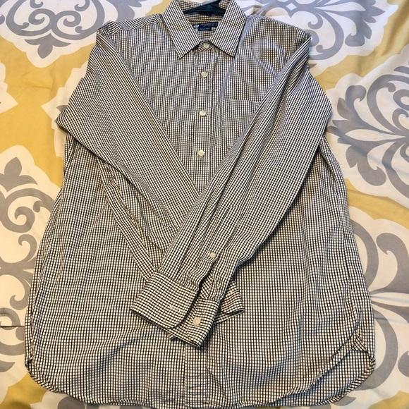Mens JCrew Black Checkered Long Sleeve Dress Shirt
